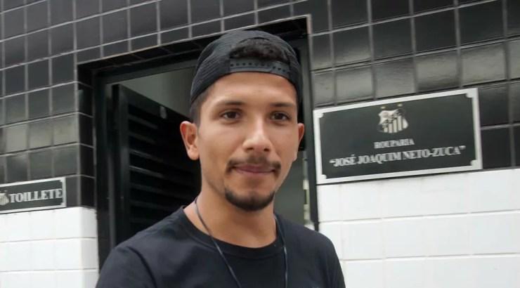 Yuri em treino do Santos no CT — Foto: Ivan Storti / Divulgação Santos FC