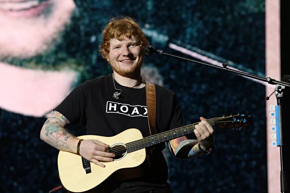 28 de maio - O cantor britânico Ed Sheeran realiza show com ingressos esgotados no Allianz Parque, em São Paulo (Foto: Celso Tavares/G1)