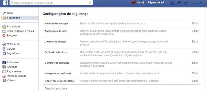 São sete menus de segurança no Facebook (Foto: Reprodução/Carol Danelli)