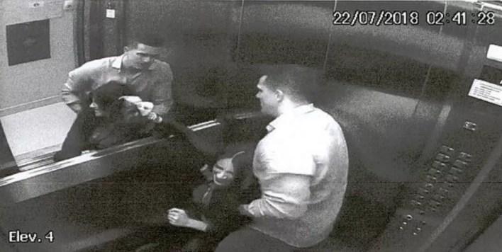 Câmeras registraram agressões do marido a Tatiane no elevador do prédio em Guarapuava (Foto: Câmeras de segurança)