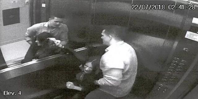 Câmeras registraram agressões do marido a advogada Tatiane Spitzner no elevador do prédio (Foto: Câmeras de segurança)