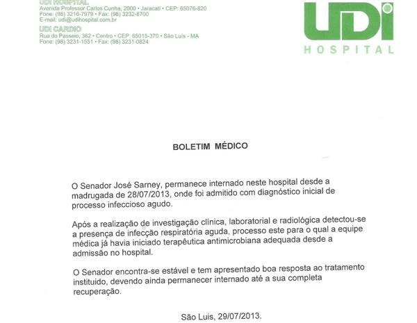 Boletim médico divulgado nesta segunda (29) afirma que não há previsão de alta. (Foto: Reprodução)