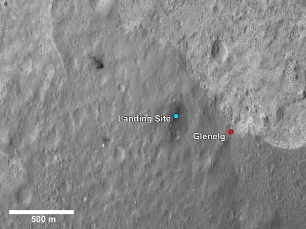 A bolinha azul representa o local em que se encontra o Curiosity. A vermelha, até onde ele vai se locomover (Foto: NASA/JPL-Caltech/MSSS/LANL)