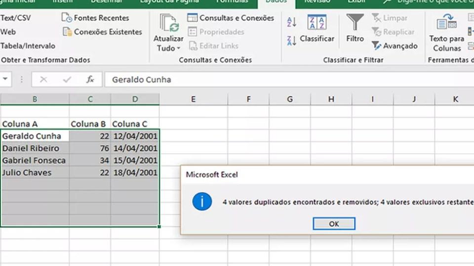 O recurso Remover Duplicidades exclui valores e termos repetidos (Foto: Reprodução/Daniel Ribeiro)