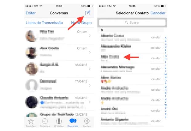 Abrindo um chat com um novo contato no WhatsApp para iPhone