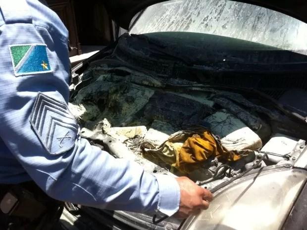 Cocaína estava enrolada em panos (Foto: Filippe Castro/TV Morena)