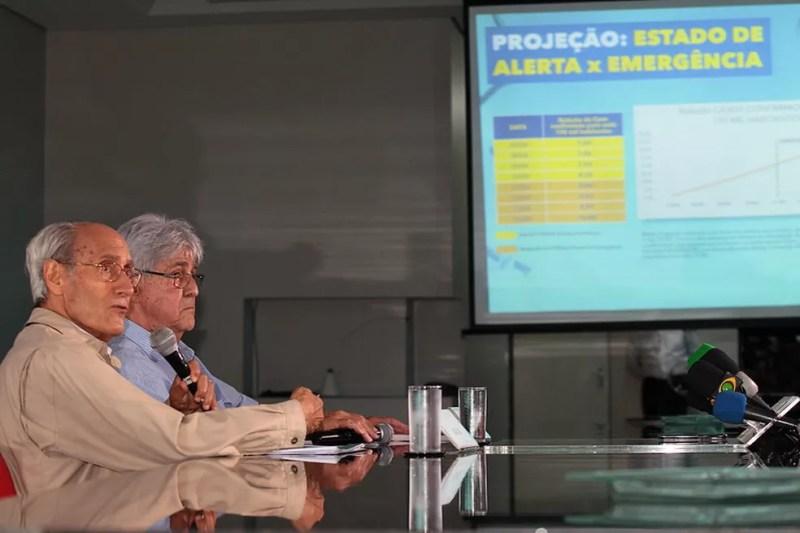 Gladstone e Odelmo Leão em entrevista coletiva em Uberlândia — Foto: Prefeitura de Uberlândia/ Divulgação