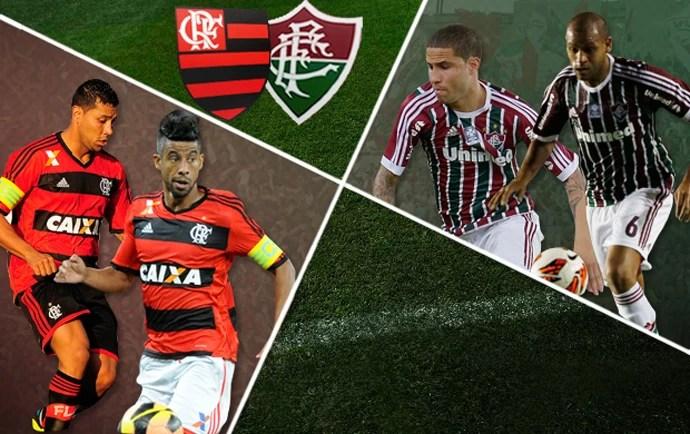 MONTAGEM - Léo MOura e André Santos Flamengo e Carlinhos e Bruno Fluminense (Foto: Editoria de arte)