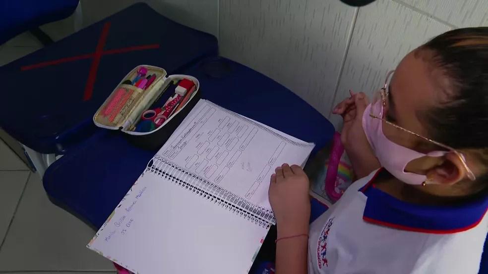Aluna com caderno em sala de aula de escola particular  — Foto: Reprodução/TV Globo