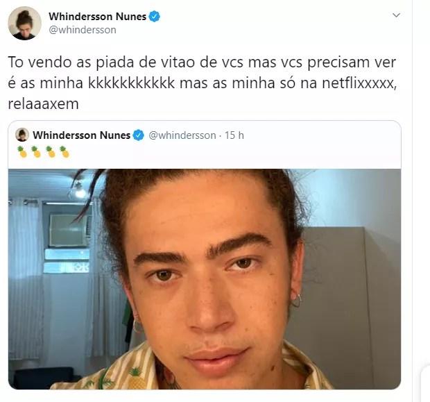 Whindersson Nunes  é comparado com Vitão e rebate  (Foto: Reprodução/Twitter)