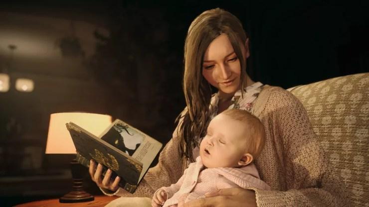 Mia e sua bebê Rose em um momento tranquilo.