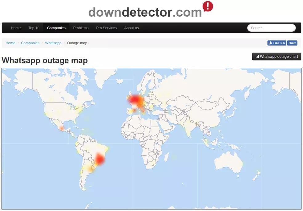 Mapa do site Down Detector mostra relatos de falhas no WhatsApp (Foto: Reprodução/Down Detector)