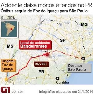 Acidente aconteceu na BR-369, em Bandeirantes, no norte do Paraná (Foto: Arte / G1)