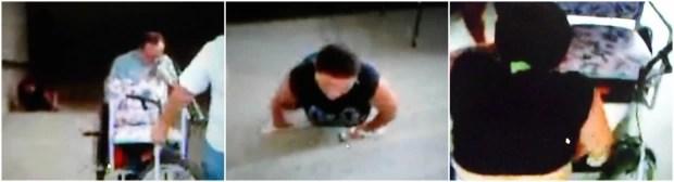 Mulher usa chinelos nas mãos para protegê-las. Ela se arrasta pelas escadas da Estação de Maracanaú. (Foto: TV Verdes Mares/Reprodução)