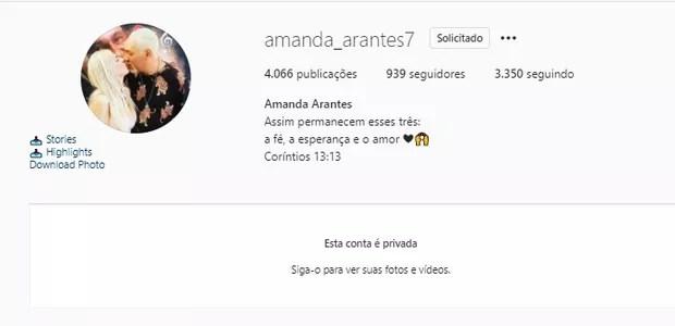 Amanda Arantes tem foto romântica com Chrigor em perfil (Foto: Reprodução/Instagram)