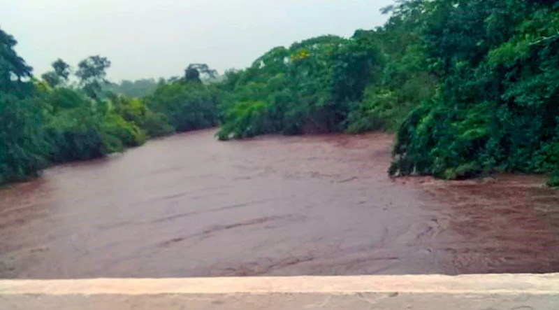 Rio Miranda com volume de água acima do normal — Foto: Governo do estado/Divulgação