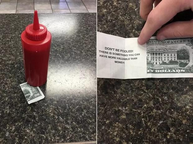 Atendente achou que tinha ganhado gorjeta de US$ 20, mas era apenas panfleto religioso (Foto: Reprodução/Twitter/Garret)