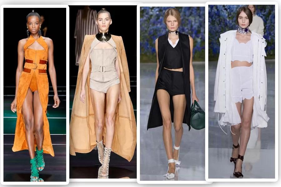 Na Balmain e na Dior, usar um casaco ou colete longo combinado a conjunto curtíssimo é truque de styling para um verão sexy e moderno (Foto: Imaxtree)