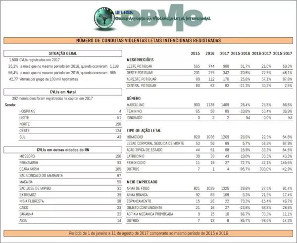 Detalhamento do registro de homicídios no RN em 2017 (Foto: OBVIO)