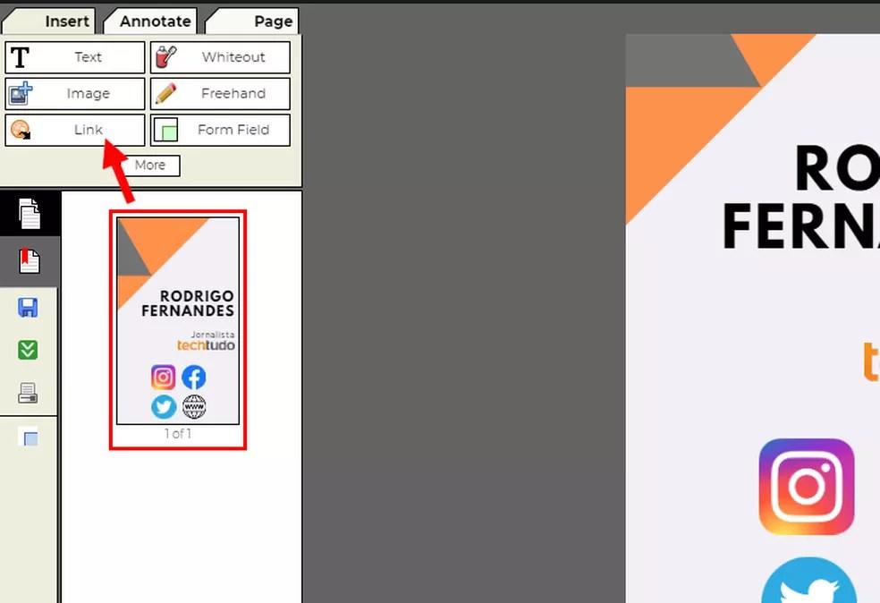 É possível adicionar links ao PDF — Foto: Reprodução/Rodrigo Fernandes