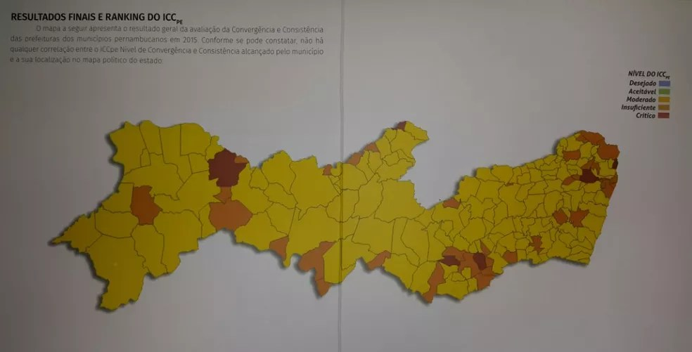 Mapa dos municípios mostra avaliação do Índice de Convergência Contábil dos Municípios (ICCpe) (Foto: Ascom/TCE-PE)