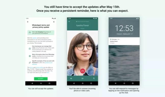 WhatsApp exibirá lembrete persistente e limitará funções de usuários que não aceitarem novos termos de privacidade — Foto: Reprodução/WhatsApp