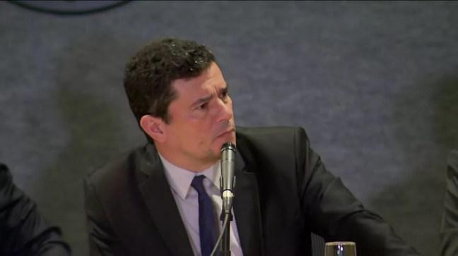 Ministro Sergio Moro foi perguntado sobre o caso da morte de Marielle Franco, durante evento na Polícia Federal, nesta sexta-feira (1º), em Curitiba — Foto: RPC/Curitiba