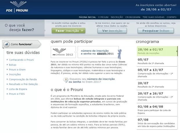 Preview do site do PROUNI