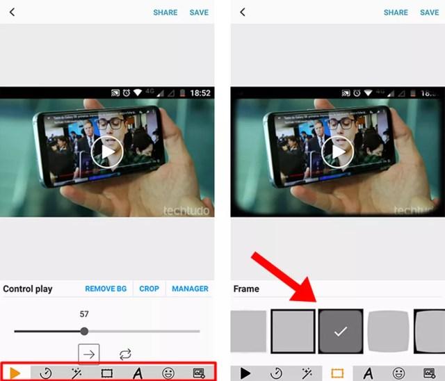 Use o editor para aplicar moldura (Foto: Reprodução/Paulo Alves)