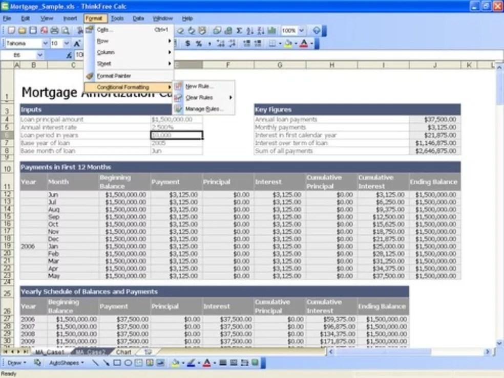 Com a opção Calc, do ThinkFree, é possível fazer planilhas parecidas com as do Excel — Foto: Reprodução/TechTudo