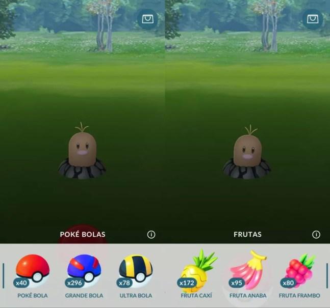 Pokébolas e frutas no Pokémon GO — Foto: Reprodução/Pokémon GO