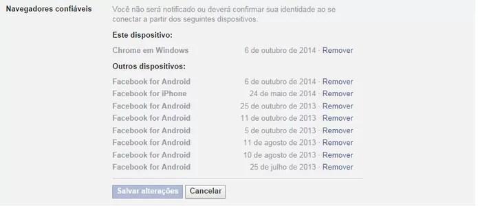 Caso um navegador não for confiável, remova-o da lista (Foto: Reprodução/Facebook)