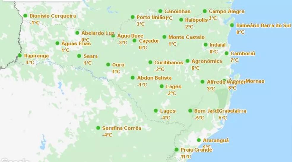 Estações da Epagri/Ciram registram frio em todas regiões catarinenses — Foto: Epagri/Ciram/Reprodução