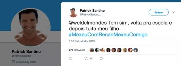 Perfil falso escreve mensagem a favor do senador Renan Calheiros (PMDB-AL) (Foto: Reprodução, Twitter)