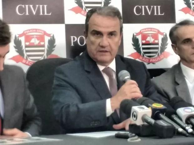 Secretário Estadual de Segurança, Mágino Alves Barbosa Filho esteve em Mogi (Foto: Maiara Barbosa/ G1)