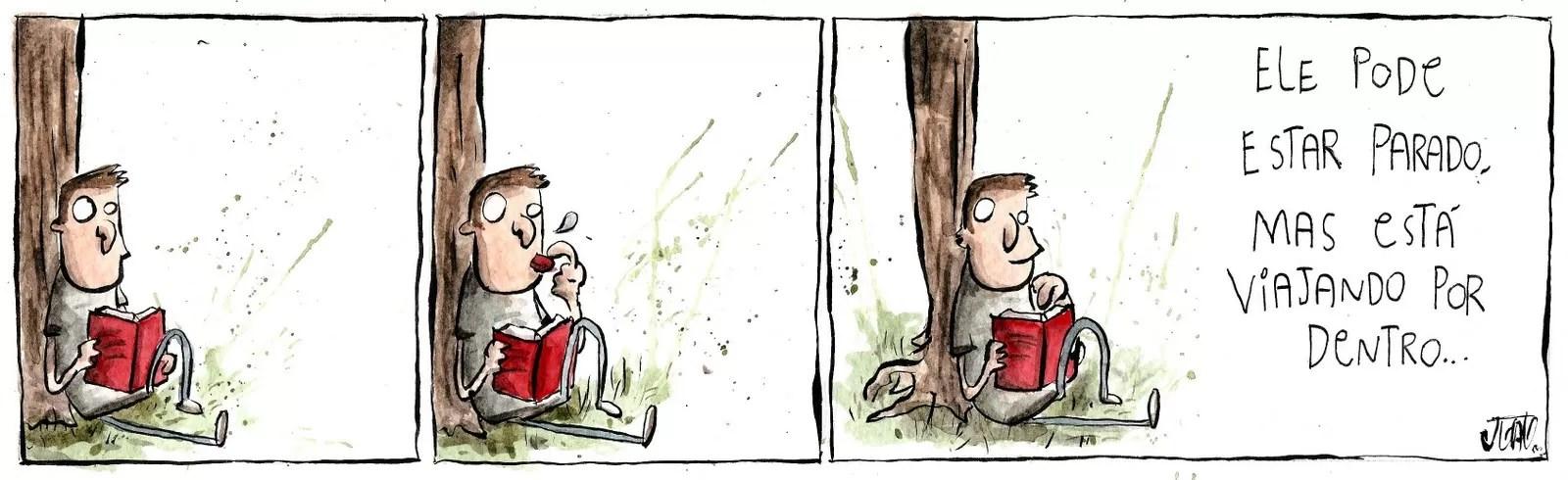 Quem observa um leitor, não imagina onde ele está em pensamento (Foto: Reprodução)