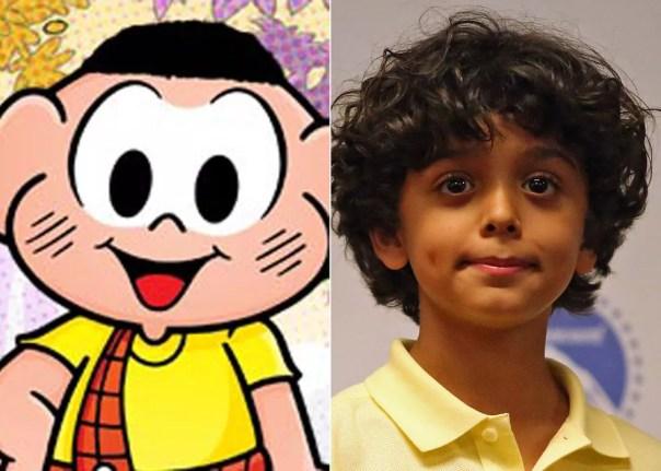 Gabriel Moreira, de nove anos, foi escolhido para interpretar Cascão em 'Turma da Mônica – Laços' (Foto: Divulgação e Fabio Tito/G1)