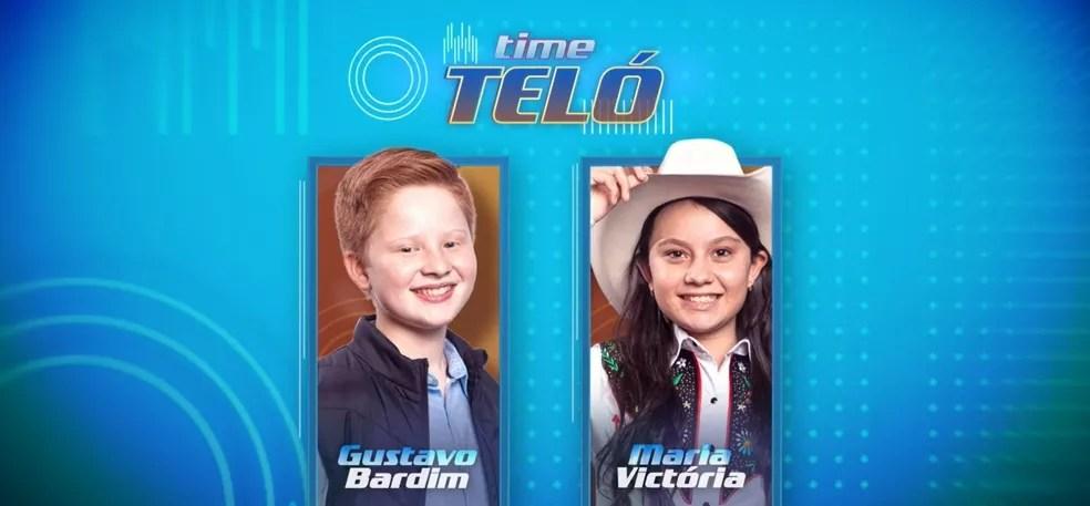 Gustavo Bardim e Maria Victória concorrem pelo Time Teló, no 'The Voice Kids'. — Foto: Reprodução/Globoplay