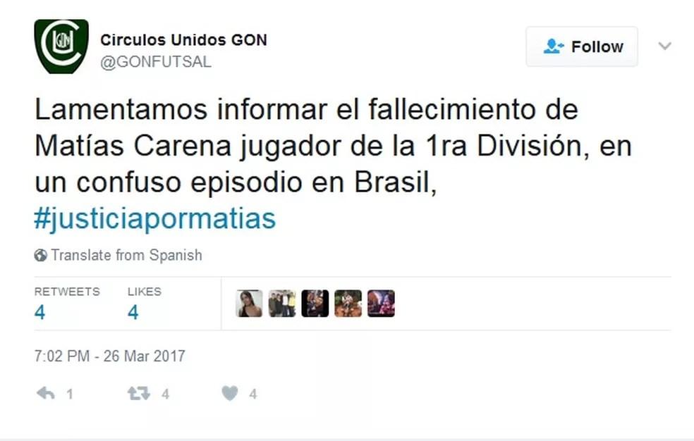 Clube de Futsal argentina lamenta morte de atleta no Rio (Foto: Reprodução/Twitter)