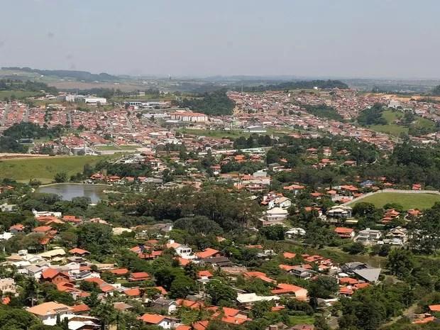 Foto aérea do município de Vinhedo (SP) (Foto: Erick Leite)