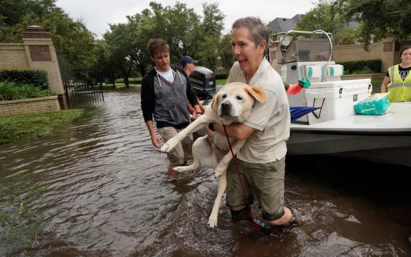 Um homem e seu cão são resgatados de uma área atingida por inundações causadas pela tempestade tropical Harvey (Foto: Reuters/Rick Wilking)