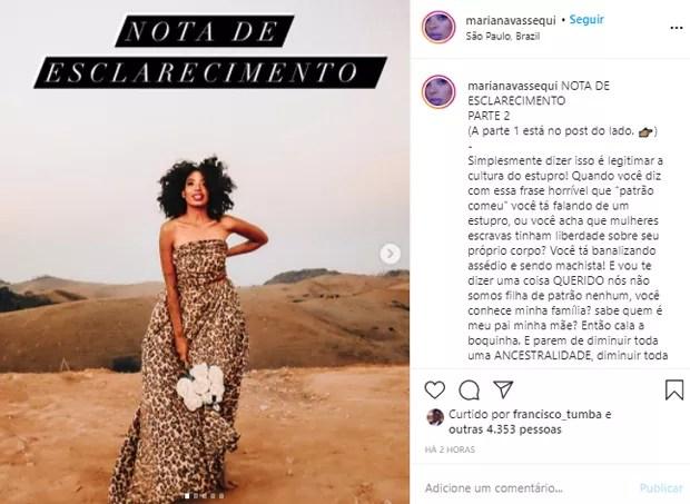 Texto publicado por Mariana Vassequi (Foto: Reprodução/Instagram)