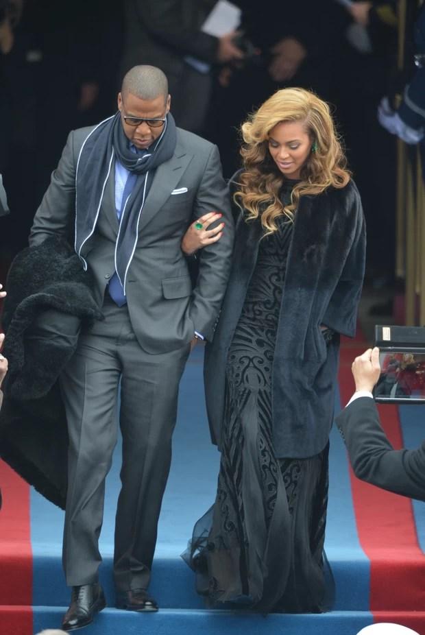 Jay-Z e Beyoncé na posse de Barack Obama (Foto: AFP)