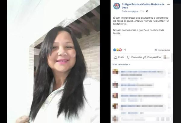 Mulher foi assassinada a facadas pelo próprio filho em Paulo Afonso, na Bahia — Foto: Reprodução/Facebook