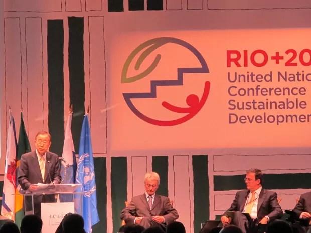O secretário-geral da ONU, Ban Ki-moon, durante apresentação na Rio+20 (Foto: Daniel Buarque/G1)