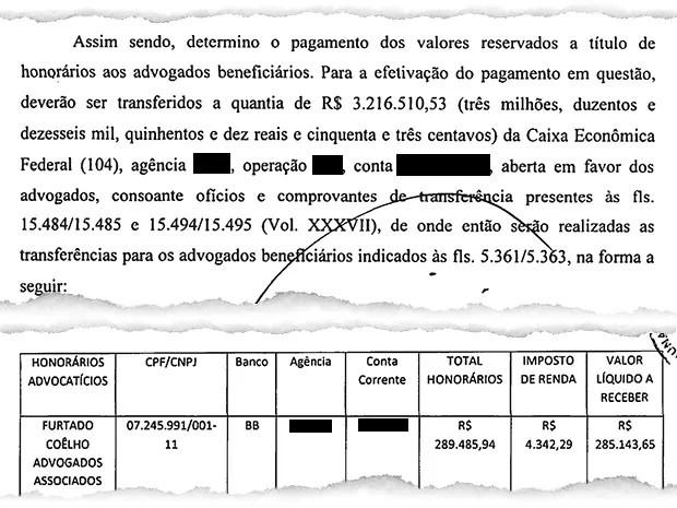Pagamentos aos advogados (Foto: Reprodução)