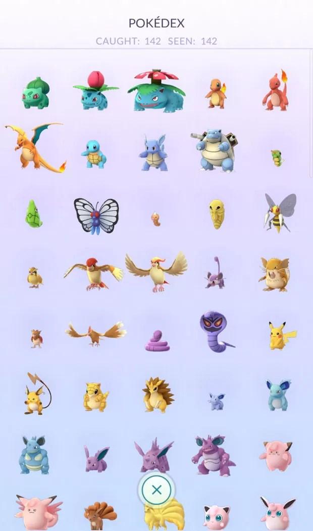 Norte-americano captura todos os 142 monstrinhos disponíveis em'Pokémon Go' para os EUA. (Foto: Reprodução/Reddit/ftb_hodor)