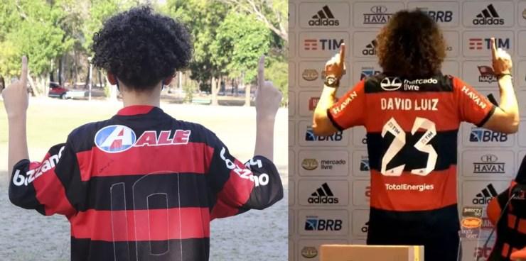 Murilo Vinícius, sósia do David Luiz — Foto: Arthur Ribeiro   Reprodução/FlaTV