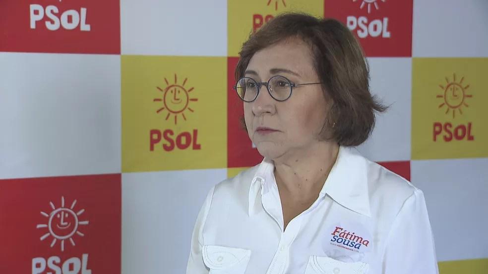 A professora Fátima Sousa, candidata pelo PSOL (Foto: Reprodução/TV Globo)