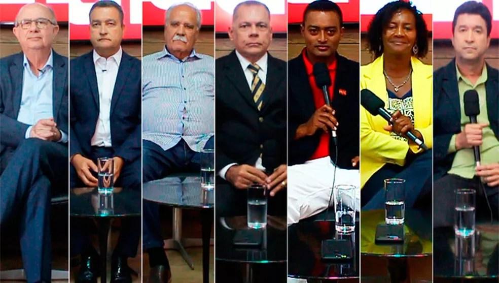 Sete candidatos disputam o posto de governador da Bahia nas eleições de 2018; somente Orlando Andrade (terceiro da direita para a esqueda), não registrou programa no TRE. — Foto: Montagem/G1
